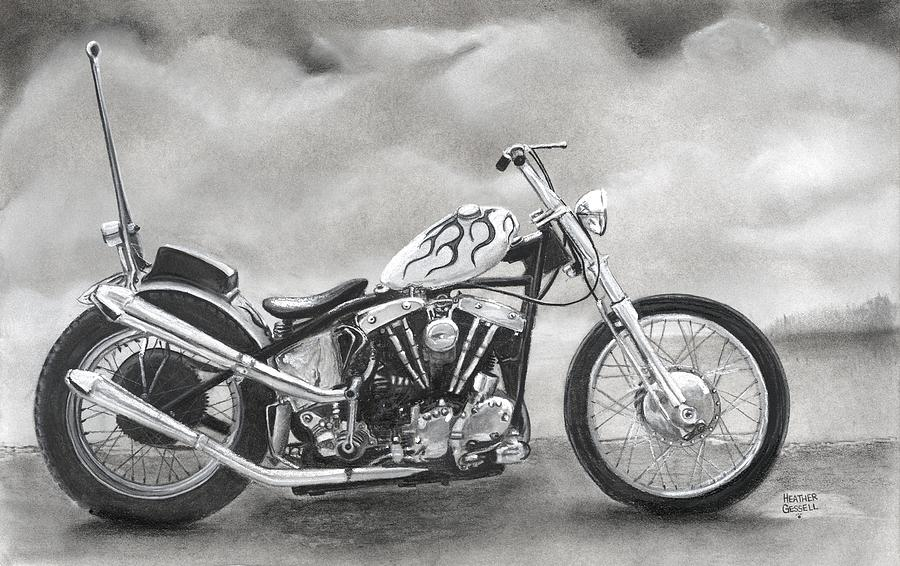 Motorcycle Pastel - Motorcycle by Heather Gessell