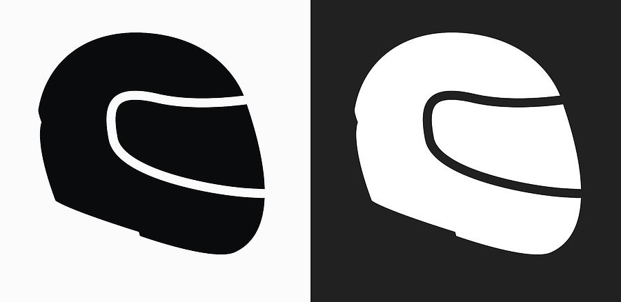 Motorcycle Helmet Icon On Black And White Vector Backgrounds Drawing by Bubaone
