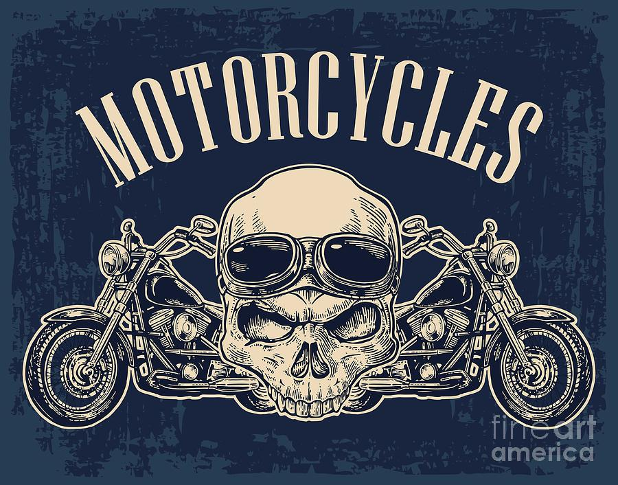 Engraving Digital Art - Motorcycle Side View And Skull by Morevector