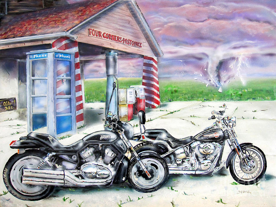 Motorcycle Painting - Motorcycles by Chris Dreher