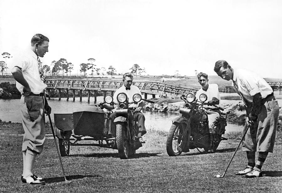 1920s Photograph - Motorcycles Set Golf Record by Underwood Archives