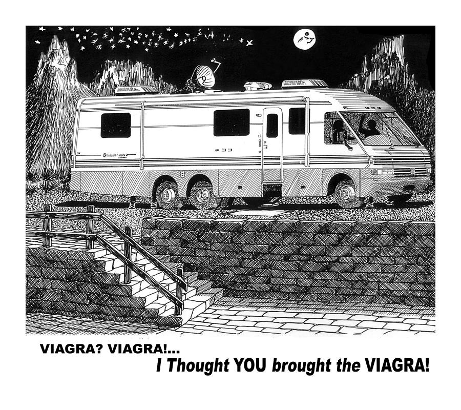Motorhome Viagra Moonlight R V Camping Drawing By Jack Pumphrey
