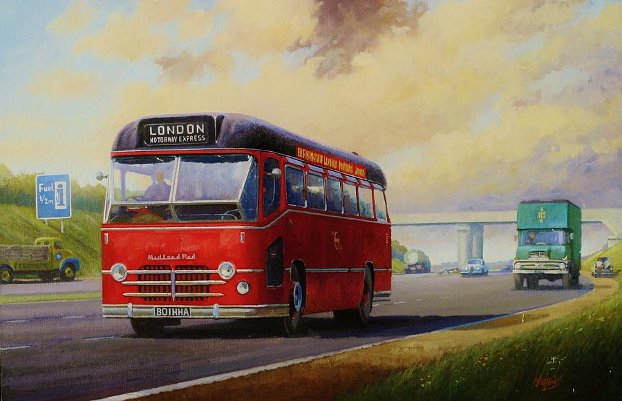 Original Painting - Motorway Express 1959. by Mike  Jeffries