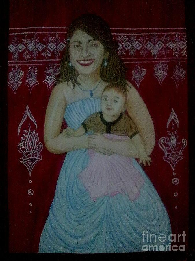 Motther And Child Love Painting - Motther And Child Love by Syeda Ishrat