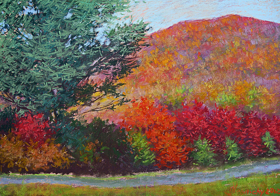 Mountains Painting - Moungtains In September by Julia Lesnichy