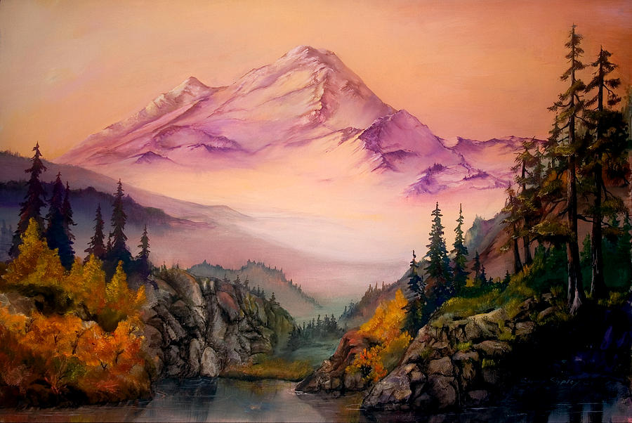 Mountains Painting - Mount Baker Morning by Sherry Shipley