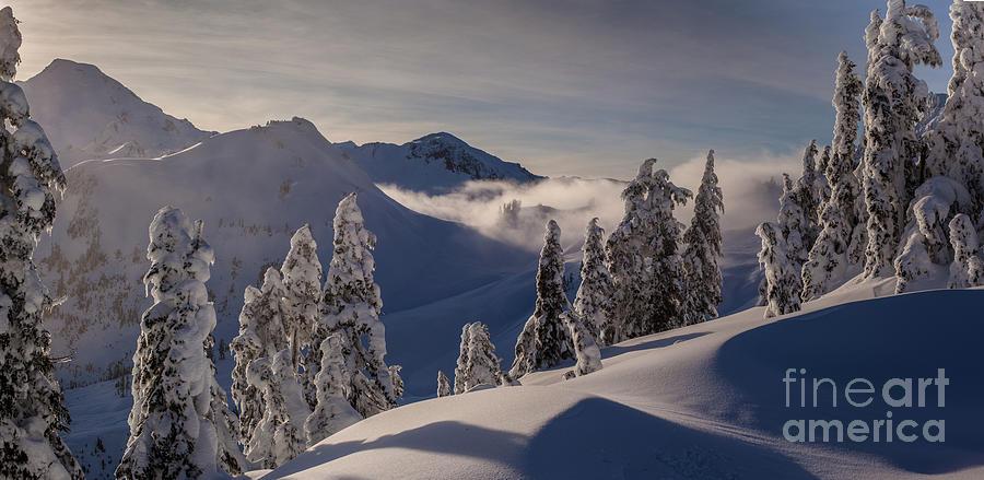 Moon Photograph - Mount Baker Snowscape by Mike Reid