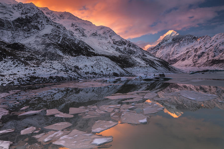 Mount Cook And Mueller Lake In Mount Photograph by Colin Monteath