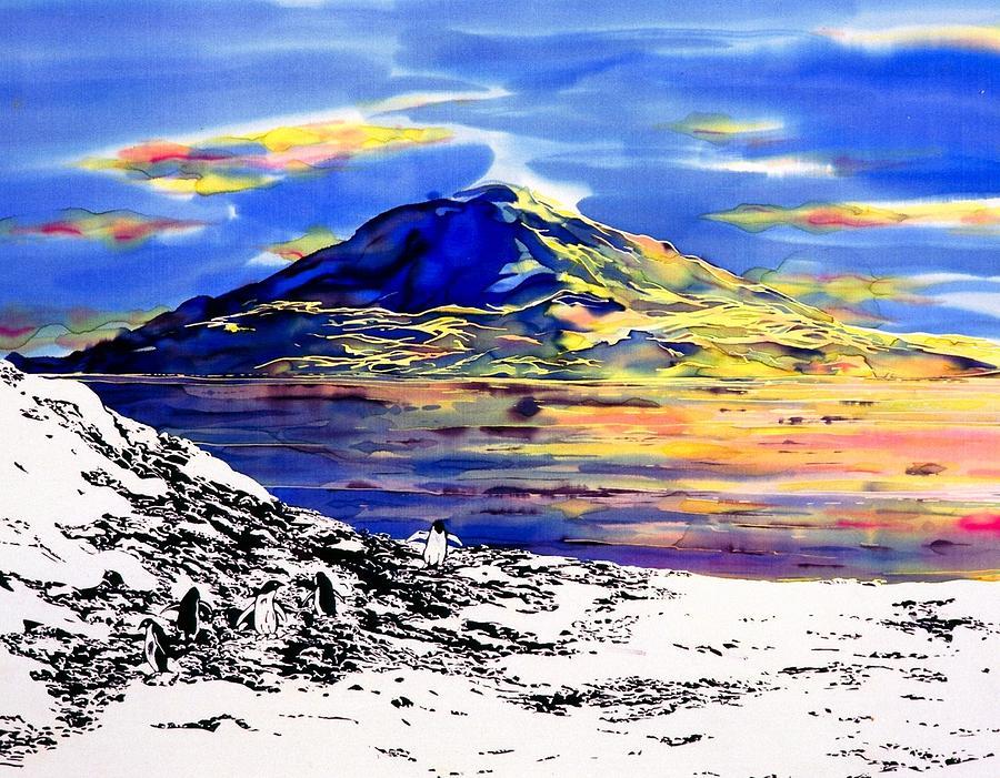 Batik Tapestry - Textile - Mount Erebus Antarctica by Carolyn Doe