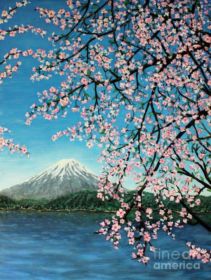 Mount Fuji Painting - Mount Fuji Cherry Blossoms by Sheena Kohlmeyer