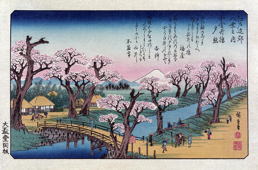 Fine Arts Photograph - Mount Fuji, Koganei Bridge, 1838 by Science Source