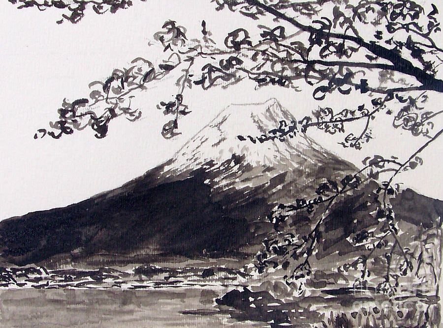 Mount Fuji Painting - Mount Fuji Spring Blossoms by Kevin Croitz