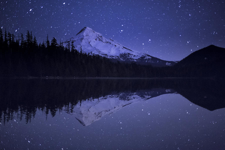 Mount Hood And Starry Sky Reflected In Photograph by Michael Durham