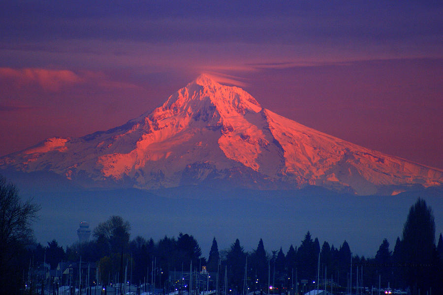 Mountian Photograph - Mount Hood At Sunset by DerekTXFactor Creative