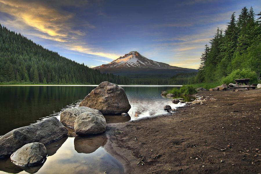 Mount Photograph - Mount Hood at Trillium Lake Sunset by David Gn