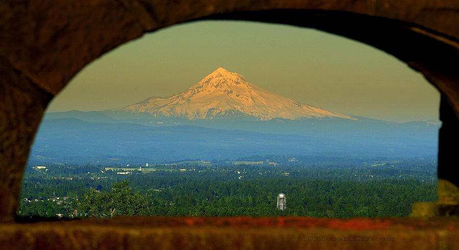 Snow Photograph - Mount Hood Framed by DerekTXFactor Creative