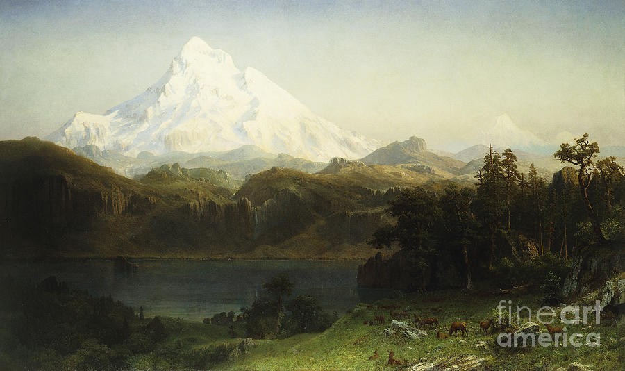Mountain Painting - Mount Hood in Oregon by Albert Bierstadt