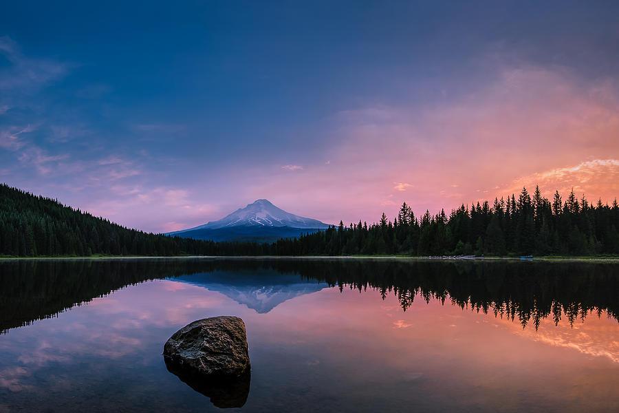 Trillium Lake Photograph - Mount Hood Magic by Dan Mihai