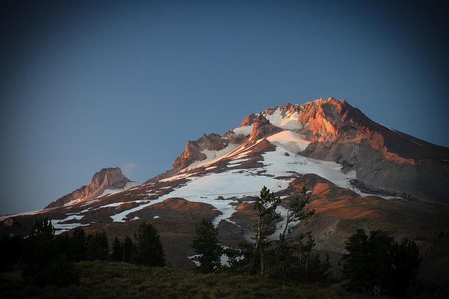 Mount Hood Summit In Warm Glow Photograph