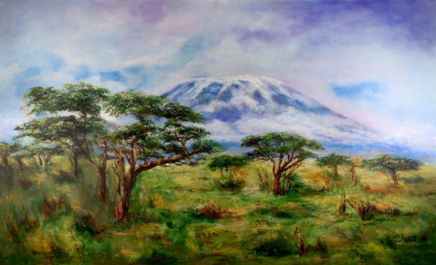 Mount Kilimanjaro Painting - Mount Kilimanjaro Tanzania by Sher Nasser
