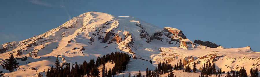 Rainier Photograph - Mount Rainier Alpenglow by Mike Reid