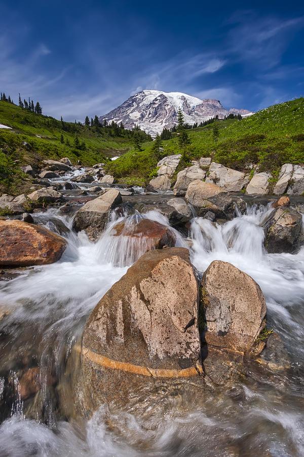 Mount Rainier Photograph - Mount Rainier Glacial Flow by Adam Romanowicz