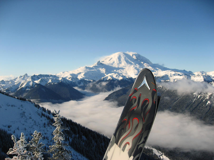 Landscapes Photograph - Mount Rainier Has Skis by Kym Backland