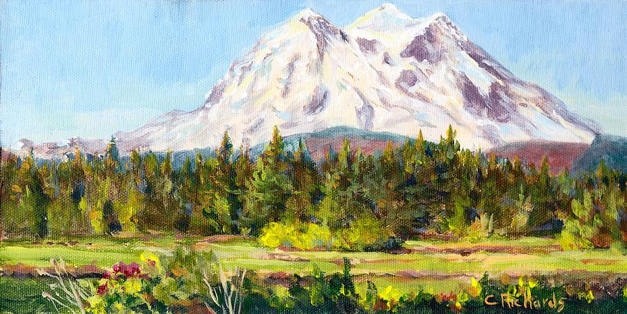 Plein Air Painting - Mount Rainier Wa by Cathleen Richards-Green