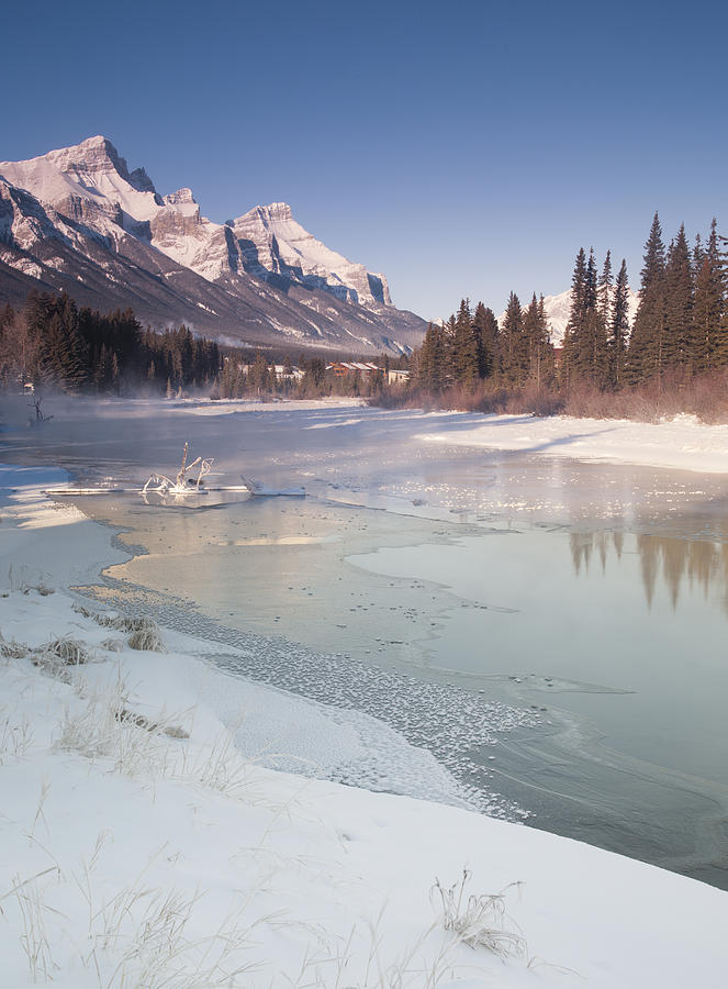 Canada Photograph - Mount Rundle And Creek In Winter  by Richard Berry