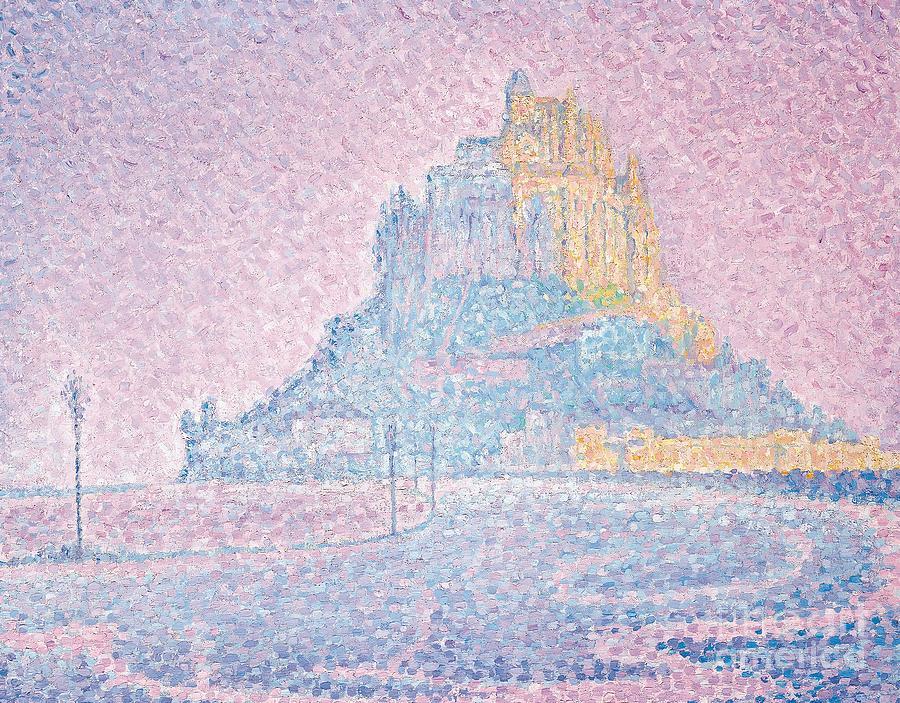 Mont Saint Michel Painting - Mount Saint Michel Fog And Sun by Paul Signac