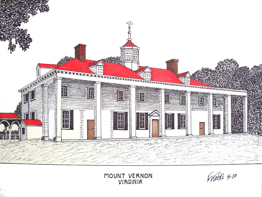 Pen And Ink Drawing Drawing - Mount Vernon by Frederic Kohli