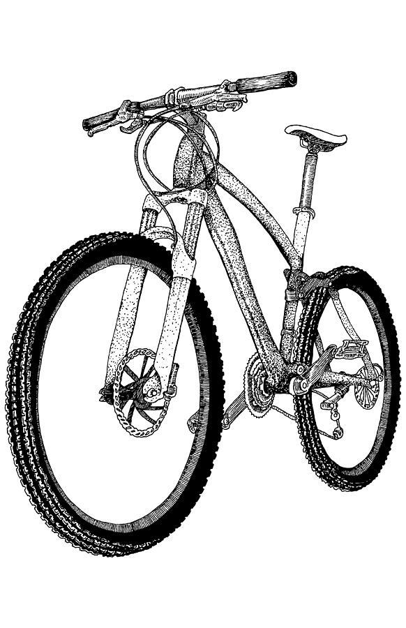 mountain bike drawing by karl addison