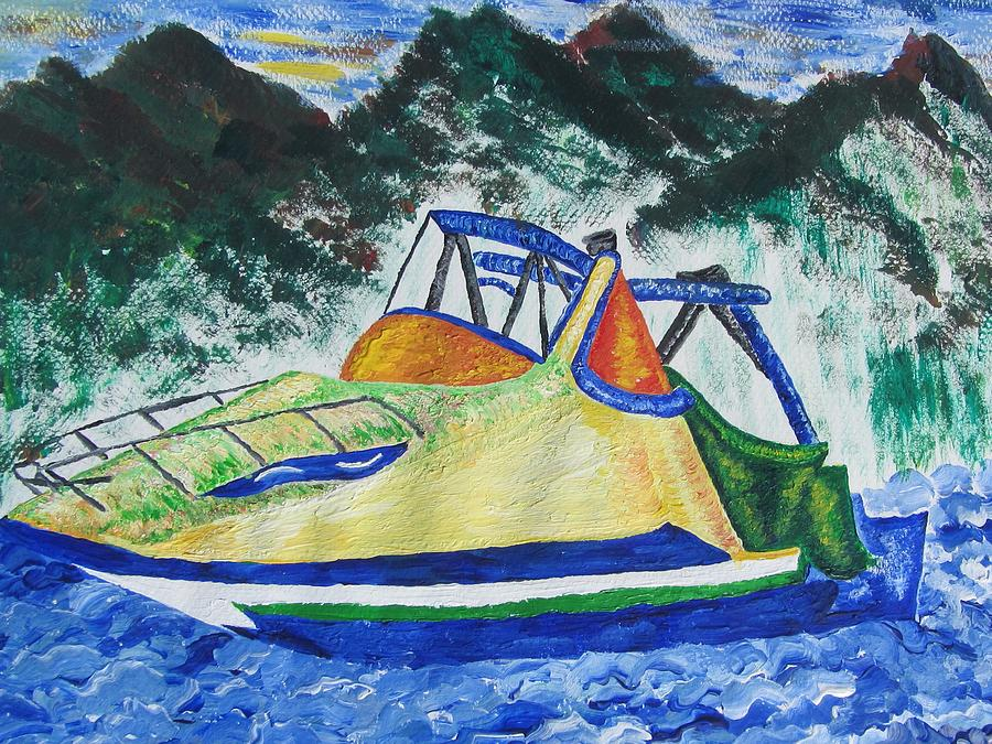 Shore Painting - Mountain Boating by Debbie Nester