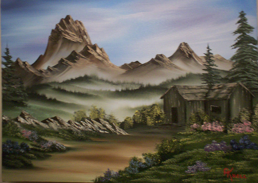 Mountain Cabin Painting By Alfred Knoll