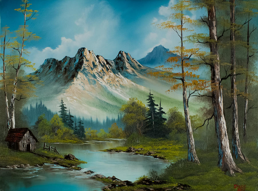 Landscape Painting - Mountain Retreat by Chris Steele