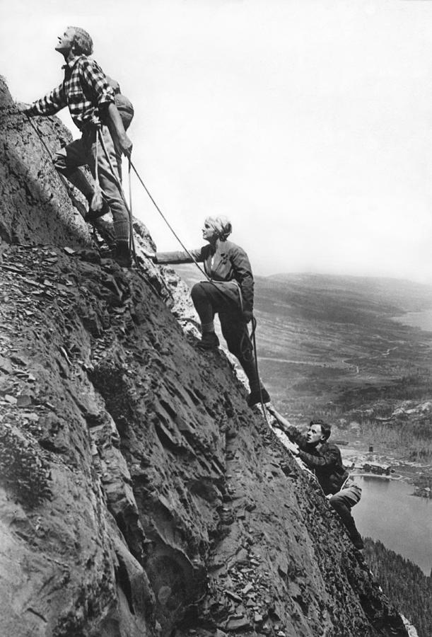 1920's Photograph - Mountain Climbing In Glacier by Underwood Archives
