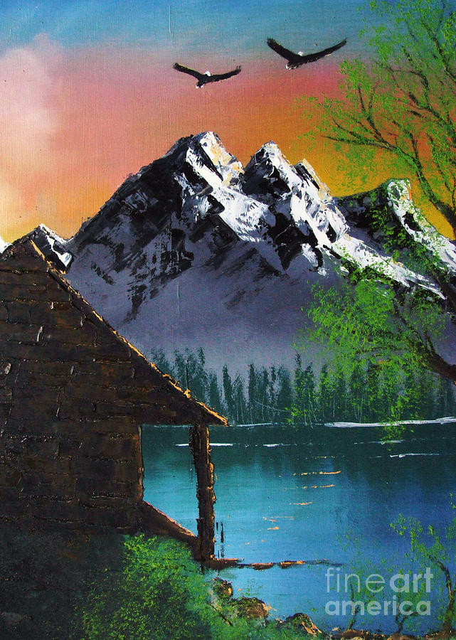 Oil On Canvas Painting - Mountain Lake Cabin W Eagles by Marianne NANA Betts