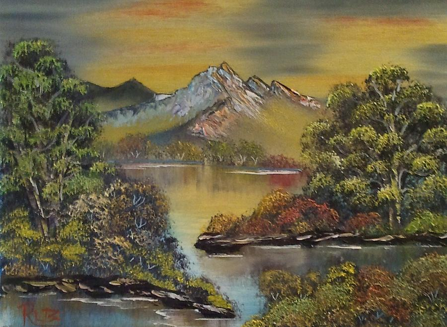 Landscape Painting Painting - Mountain Lake Reflections by Lee Bowman