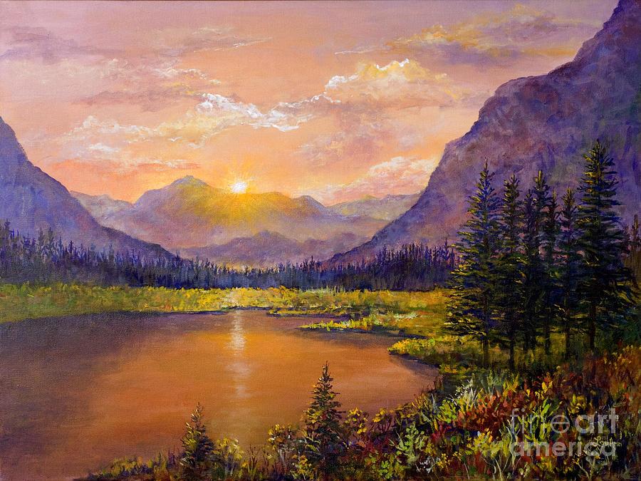 Mountain Lake Sunset Painting