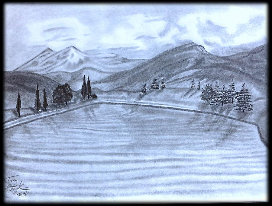 Mountain Lake View Drawing By Tony Clark