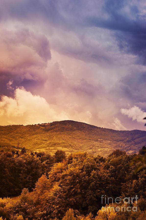 Landscape Pyrography - Mountain Landscape by Jelena Jovanovic