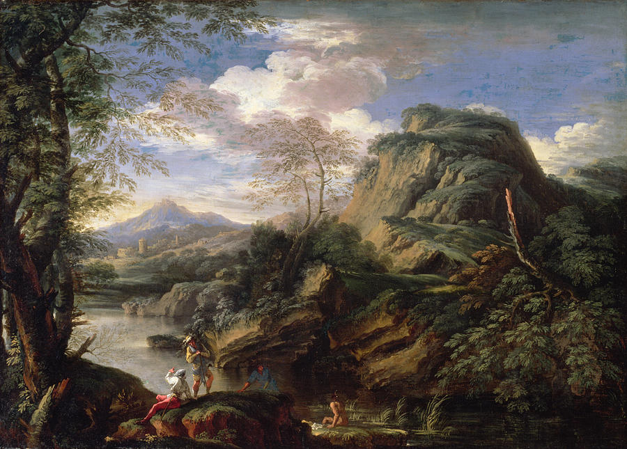 Mountain Painting - Mountain Landscape With Figures by Salvator Rosa