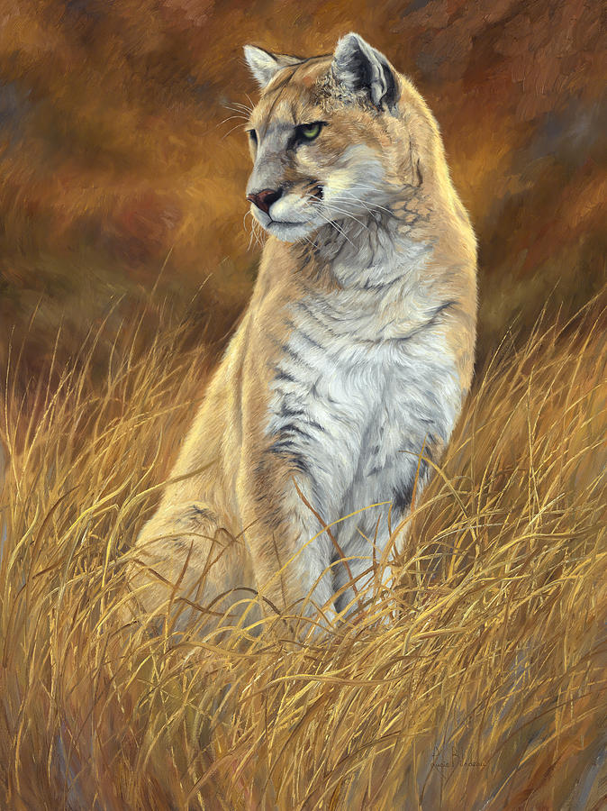 Puma Painting - Mountain Lion by Lucie Bilodeau