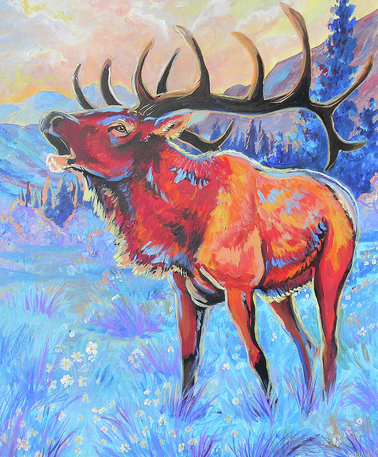 Elk Painting - Mountain Lord by Jenn Cunningham