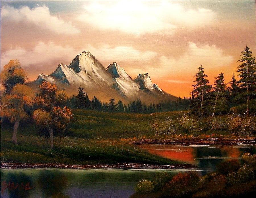 Landscape Painting - Mountain Meadow Dusk by Dina Sierra