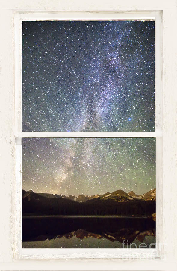 Mountain Milky Way View Through White Washed Rustic Window Photograph