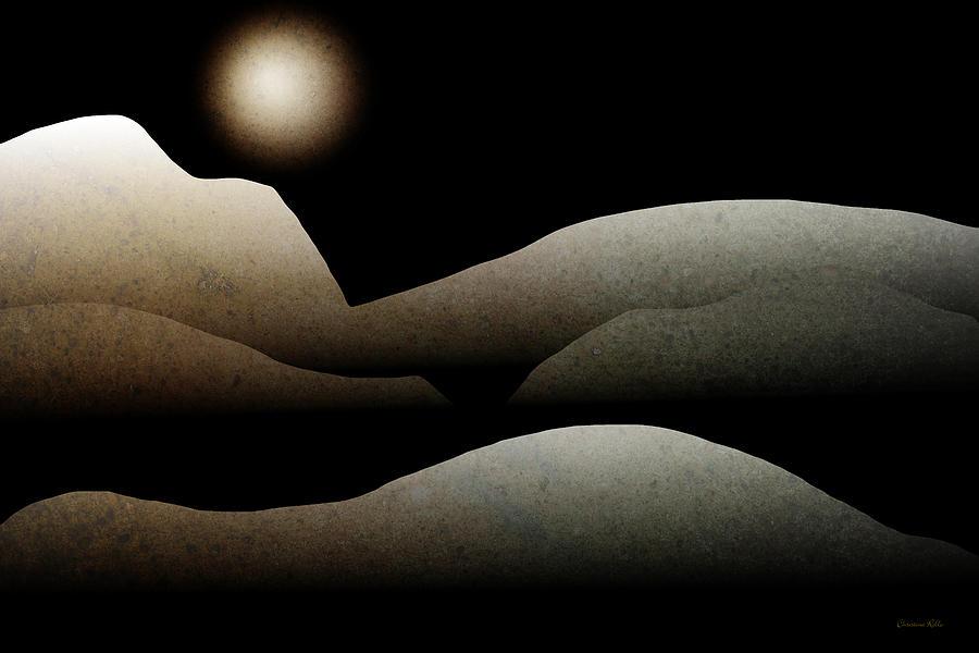 Mountain Mixed Media - Mountain Moonlight Landscape Art by Christina Rollo