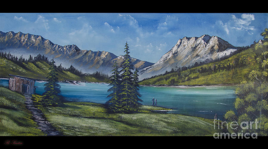 Mountain Painting A La Bob Ross Painting - Mountain Painting A La Bob Ross by Bruno Santoro