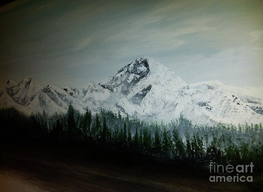 Mountain Range With Evergreens Painting - Mountain Range by Pheonix Creations