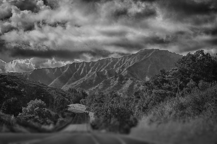 Mountain Ranges Kauai Hawaii Black And White Photograph